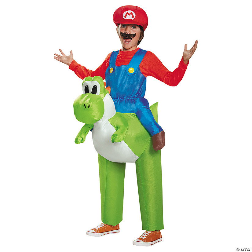 Boy's Inflatable Mario Riding Yoshi Costume