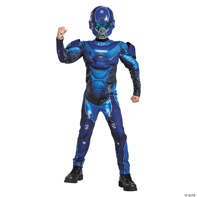 Boy's Muscle Halo Blue Spartan Costume