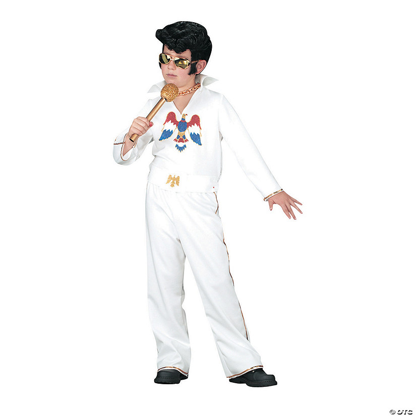 Boy's White Jumpsuit Elvis Presley Costume - Small