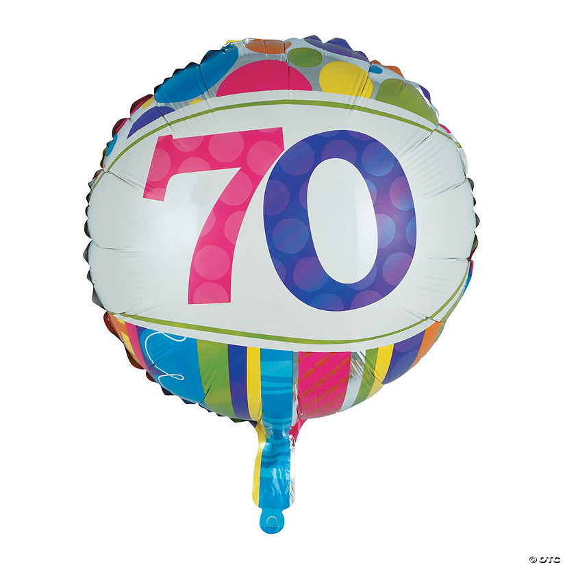 "Bright & Bold 70th Birthday Metallic 18"" Mylar Balloon"