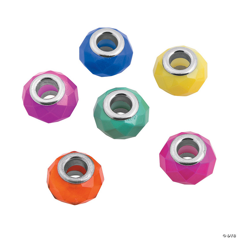 Bright Faceted Large Hole Beads - 10mm