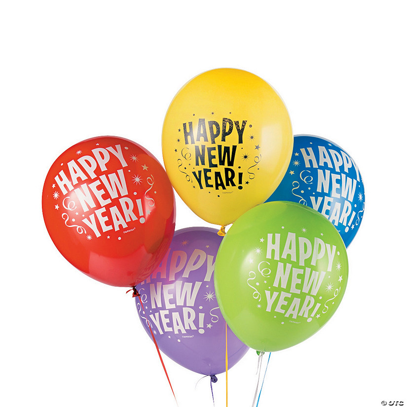 Bright New Year's Latex Balloons