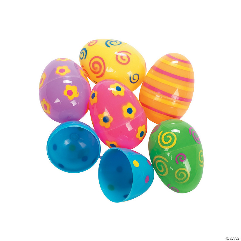 Bright Printed Plastic Easter Eggs - 72 Pc.