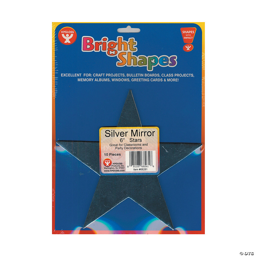 Bright Shape Cut Outs - Silver Mirror Stars