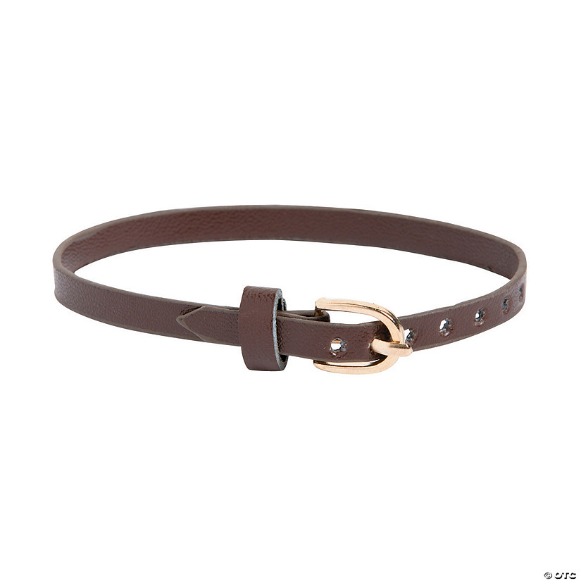Brown Skinny Faux Leather Bracelets with Buckle