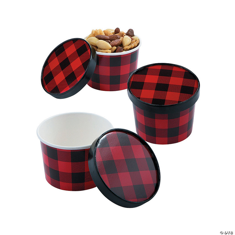 Buffalo Plaid Snack Bowls with Lids