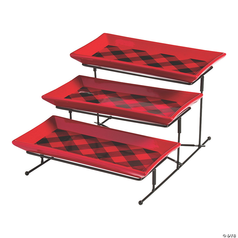 Buffalo Plaid Tiered Serving Set