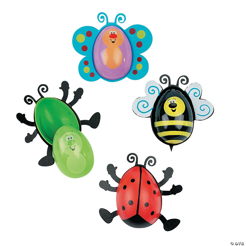 Bug-Shaped Plastic Easter Eggs - 12 Pc.