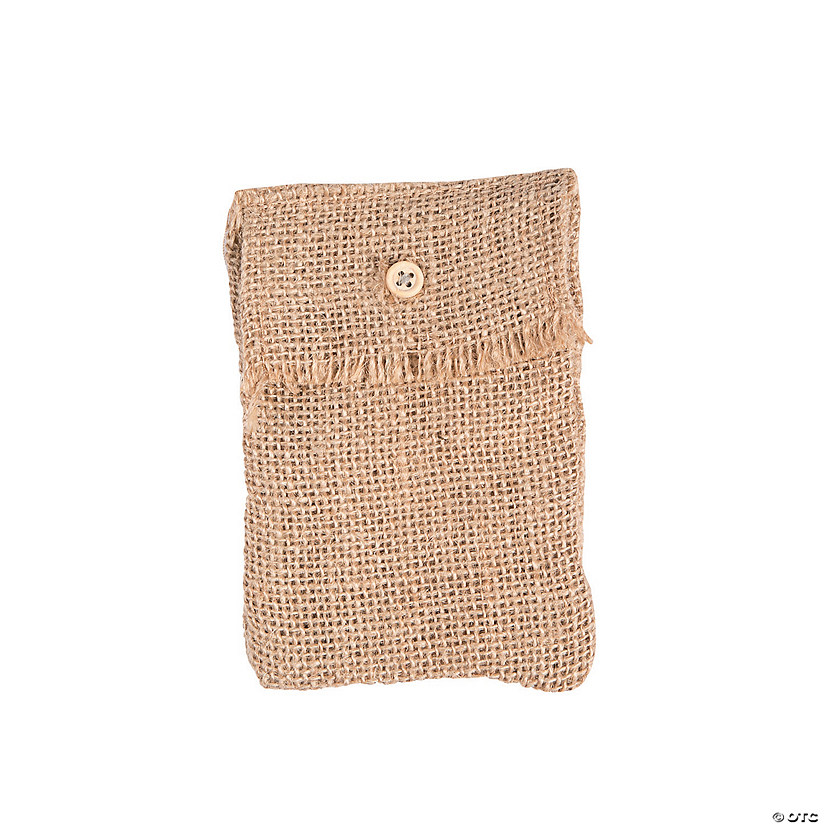Burlap Button Bag
