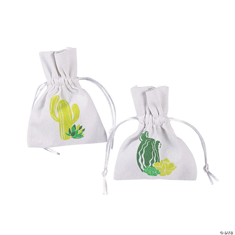 Cactus Party Canvas Drawstring Treat Bags