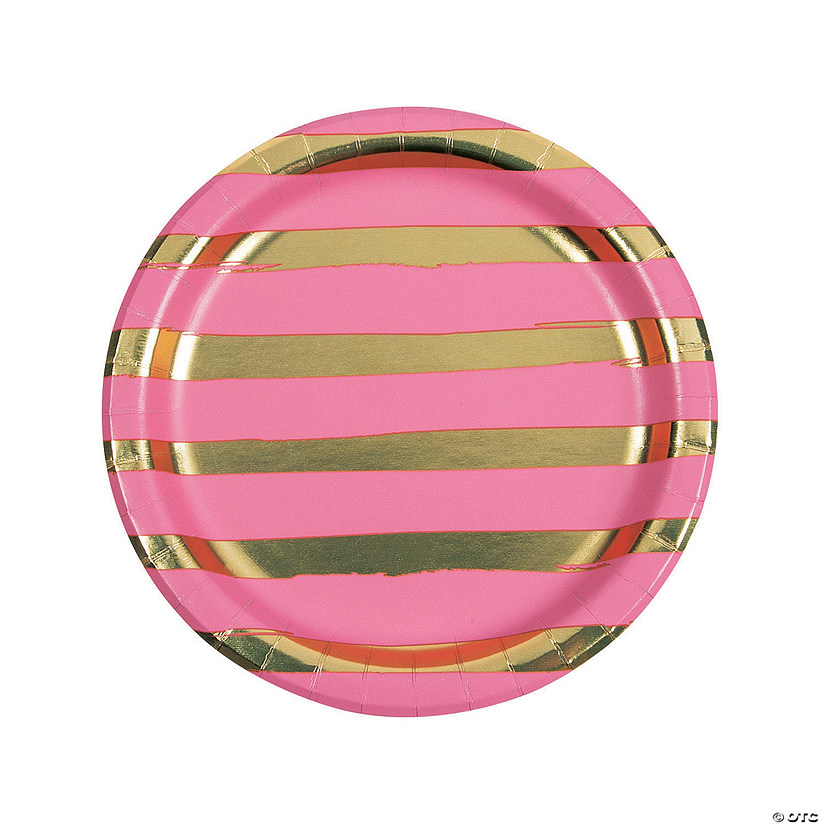 Candy Pink & Gold Foil Striped Paper Dinner Paper Plates