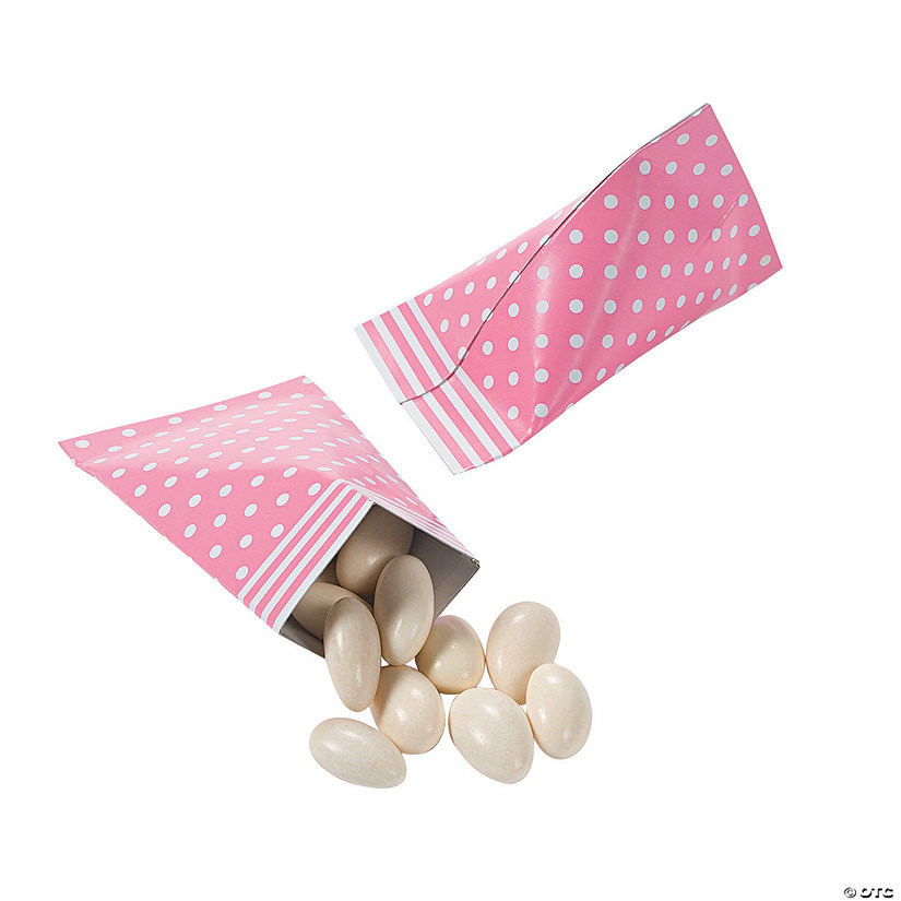 Candy Pink Polka Dot Sour Cream Favor Containers