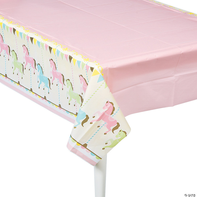 Carousel Baby Shower Plastic Tablecloth