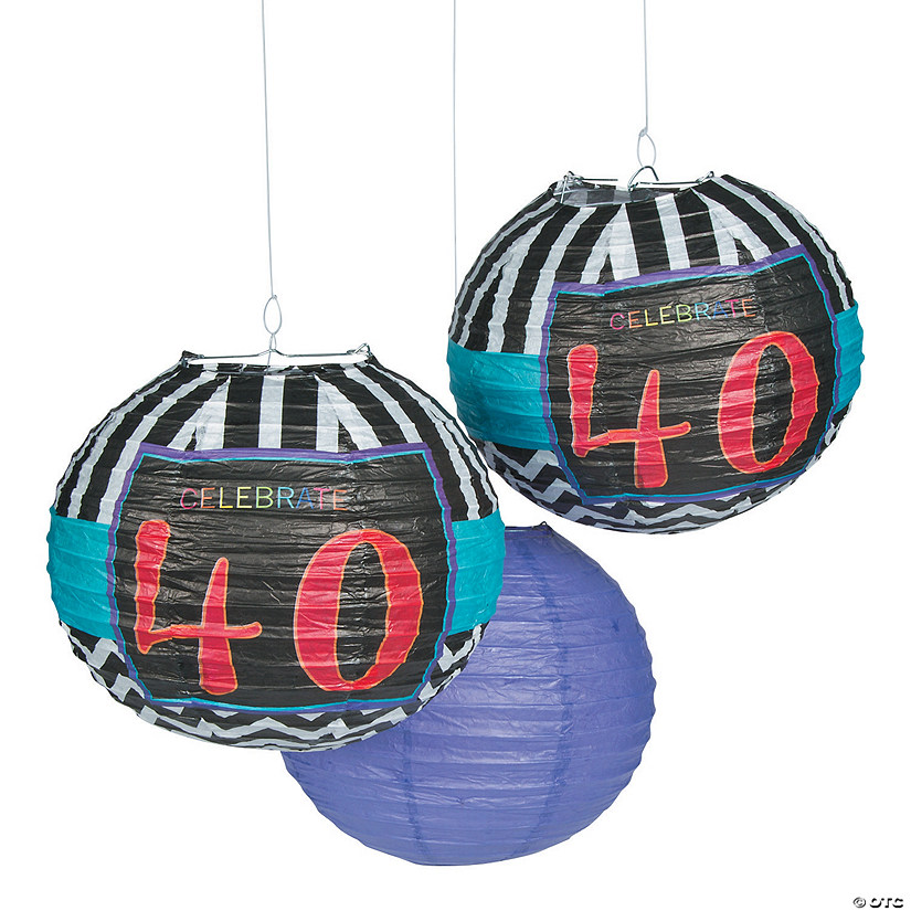 Celebrate 40th Birthday Hanging Paper Lanterns