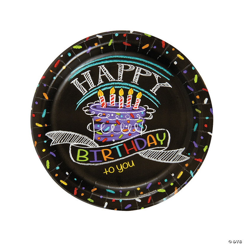Chalk Birthday Paper Dinner Plates