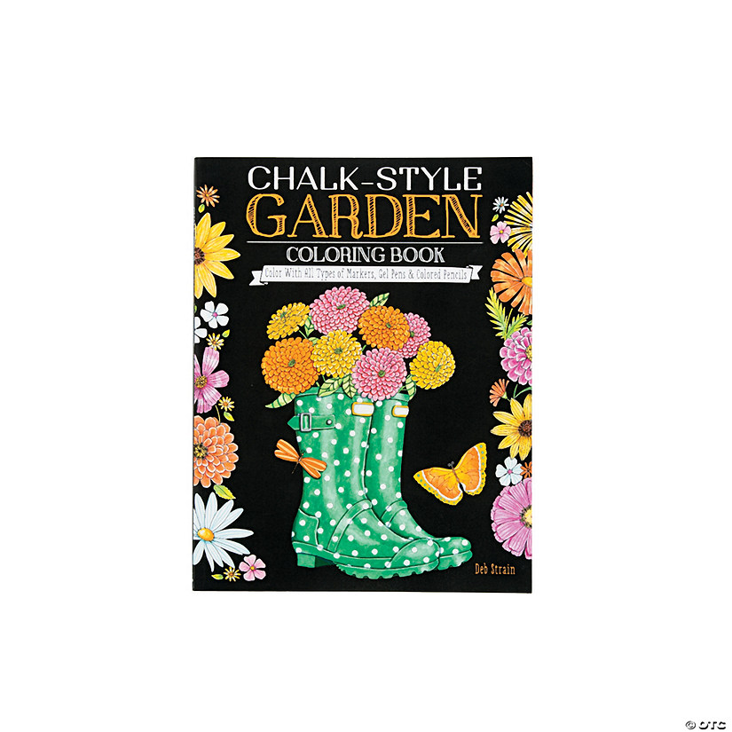 Chalk Style Garden Adult Coloring Book