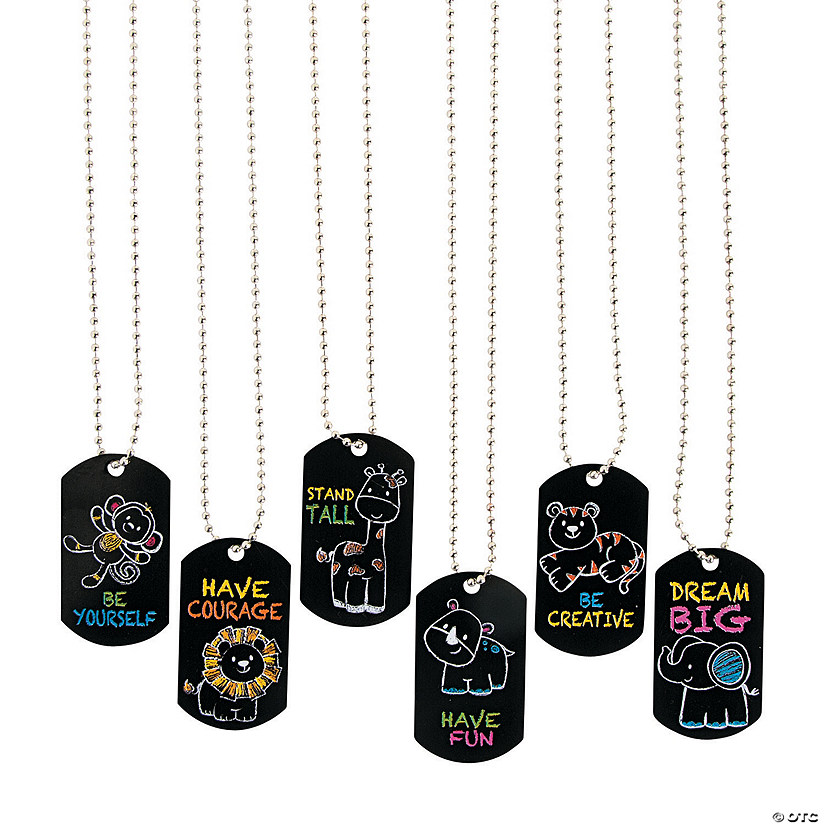 Chalkboard Safari Animal Dog Tag Necklaces