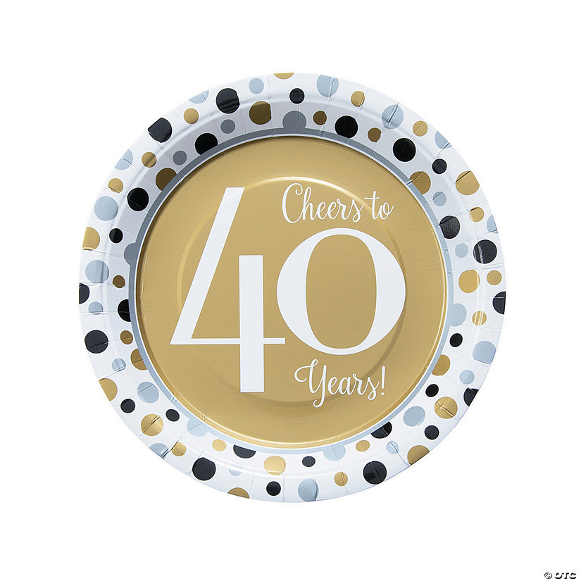 Cheers to 40 Years Paper Dinner Plates