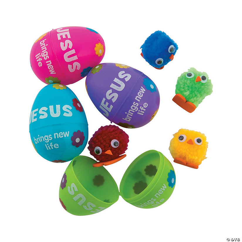 Chick-Filled New Life Plastic Easter Eggs - 24 Pc.