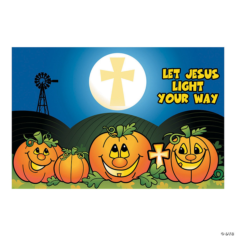 Christian Pumpkin Backdrop Banner Halloween Décor