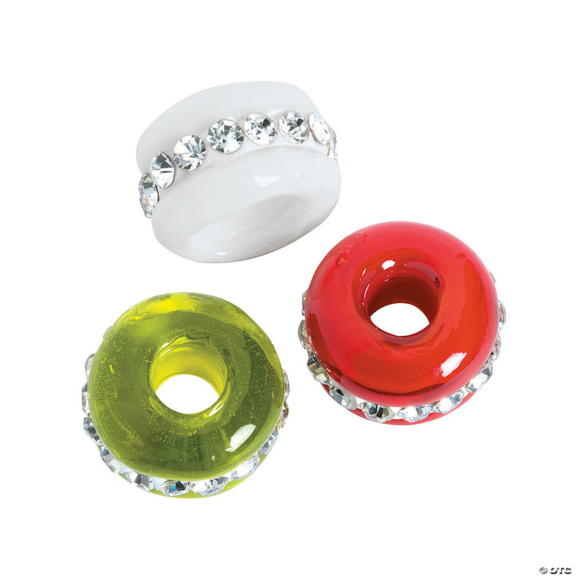 Christmas Large Hole Glass Rhinestone Beads - 13mm
