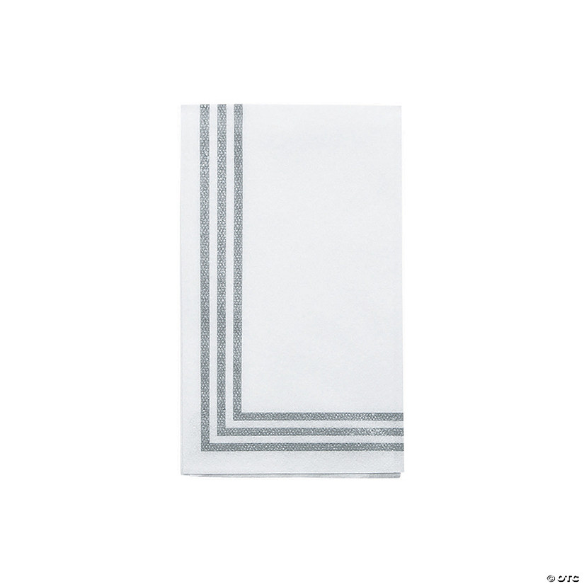 Classic Silver-Striped Premium Dinner Napkins