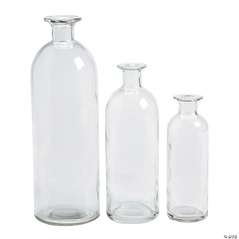 Clear Assorted Bottle Glass Vases Discontinued