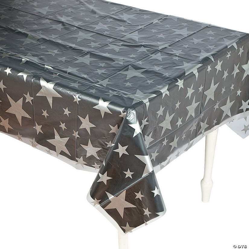 Clear Silver Star Print Plastic Tablecloth