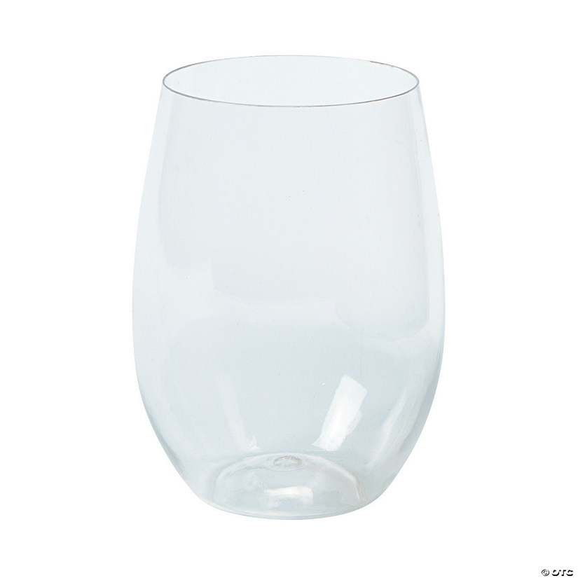 Clear Stemless Plastic Wine Glasses
