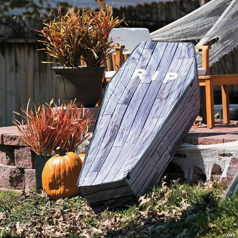 Collapsible Wood Print Coffin Halloween Décor