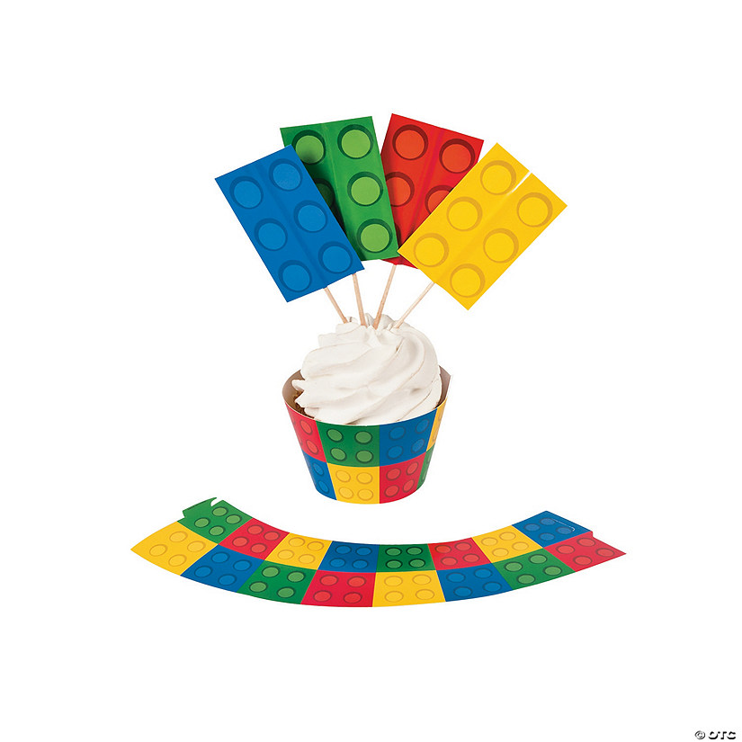 Color Brick Party Cupcake Wrappers with Picks