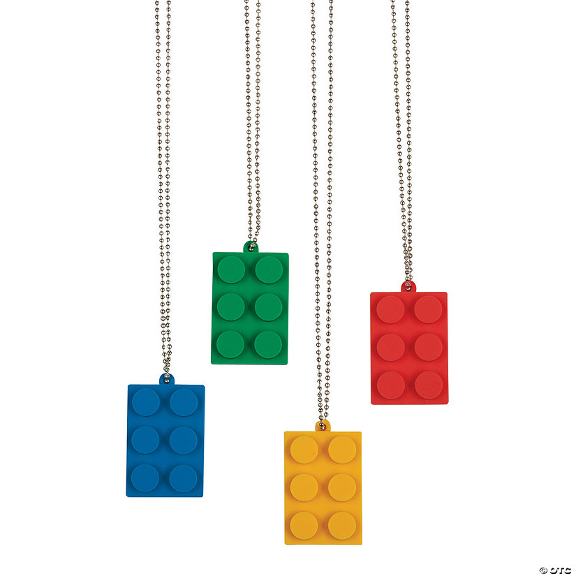 Color Brick Party Dog Tag Necklaces