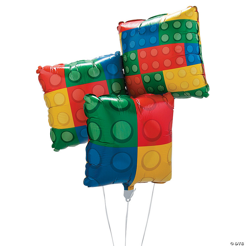 Color Brick Party Mylar Balloons