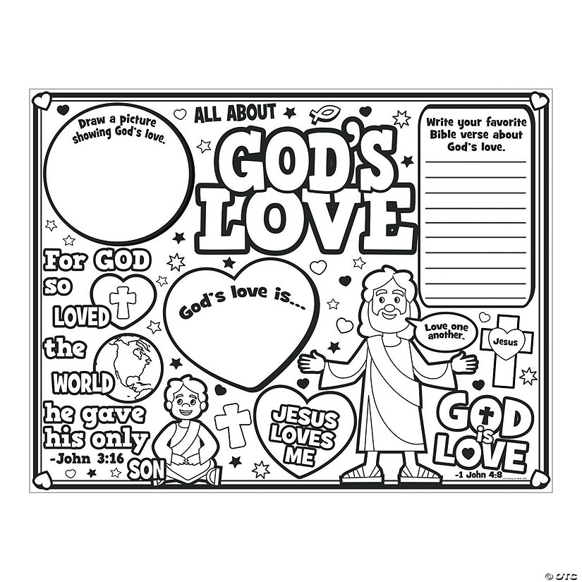 """Color Your Own """"All About God's Love"""" Posters"""