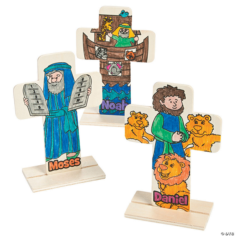 Color Your Own Bible Story Stand-Up Crosses