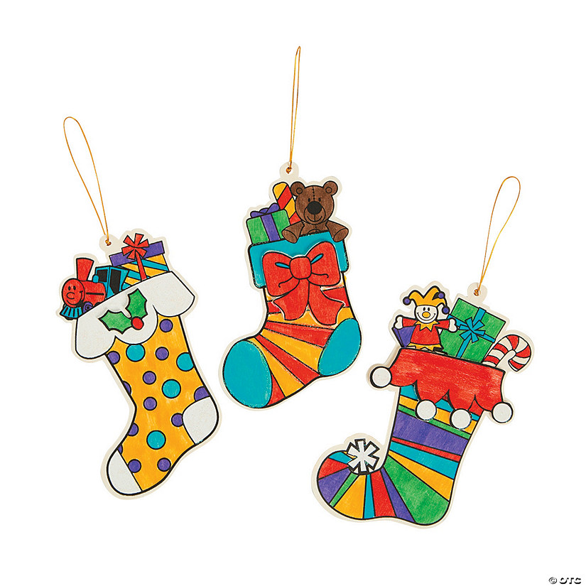 Color Your Own Religious Christmas Ornaments: Color Your Own Christmas Stocking Ornaments