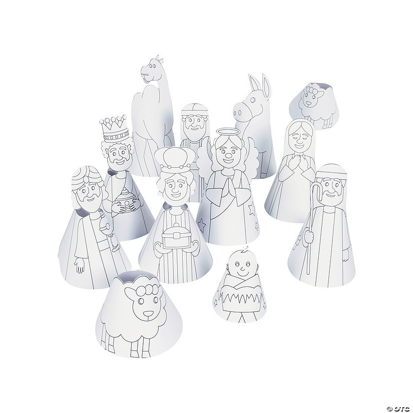 Color Your Own Cone Nativity Figures
