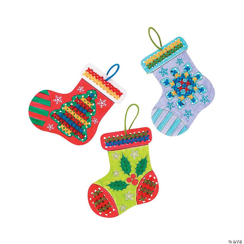 Color Your Own Cross Stitch Christmas Stocking Ornament Craft Kit