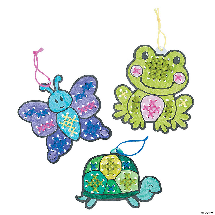 Color Your Own Religious Christmas Ornaments: Color Your Own Cross Stitch Spring Character Ornaments