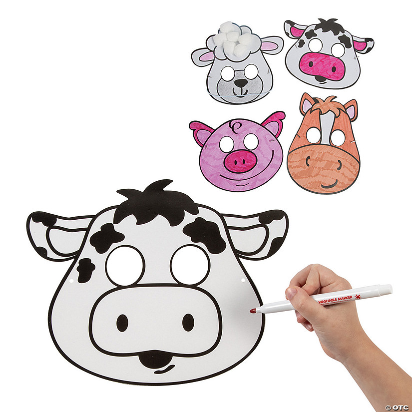 Color Your Own Farm Animal Masks