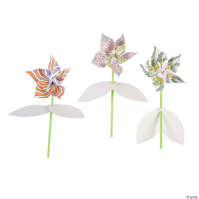 Color Your Own Flower Pinwheels