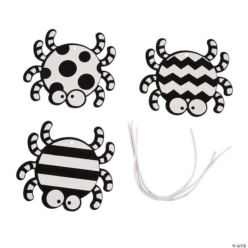 Color Your Own Fuzzy Spider Ornaments