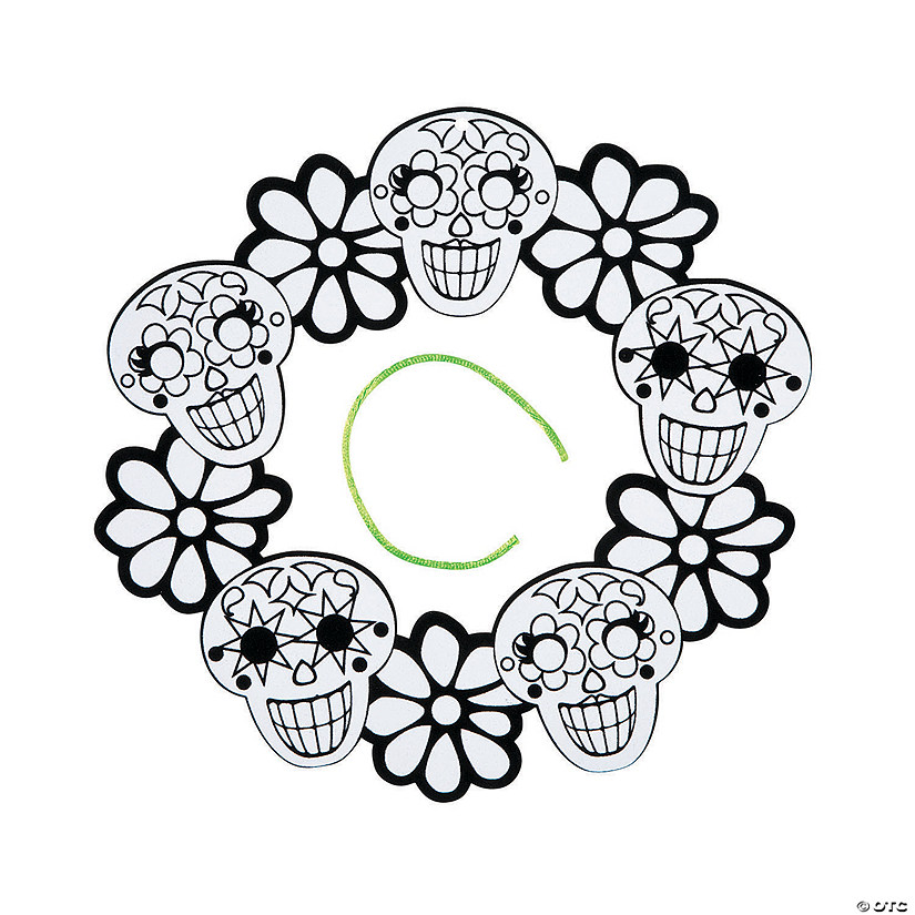 Color Your Own Fuzzy Sugar Skull Wreaths