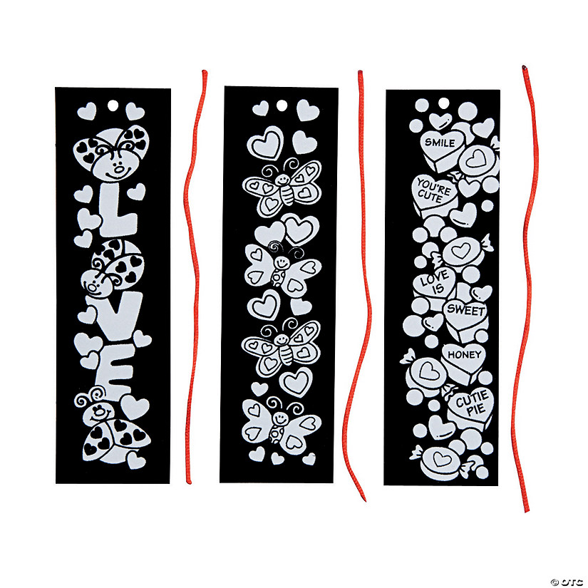 Color Your Own Fuzzy Valentine Bookmarks