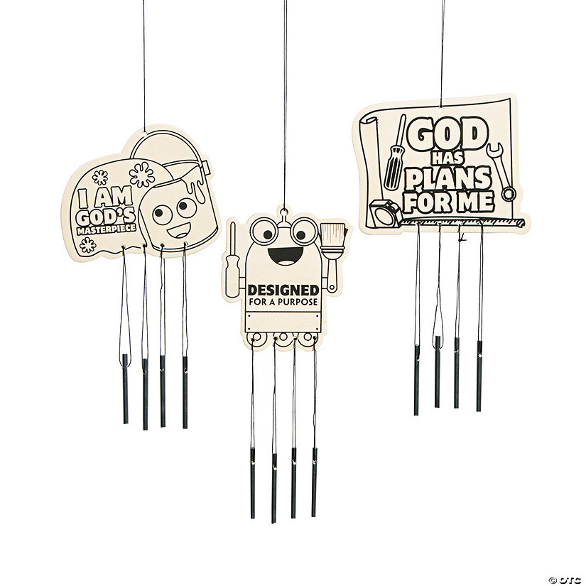 Color Your Own Geared Up for God VBS Wind Chimes