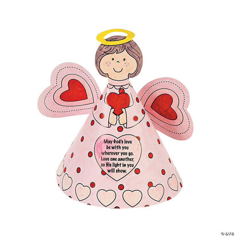 Color your own inspirational valentine angels discontinued for Inspirational valentine crafts