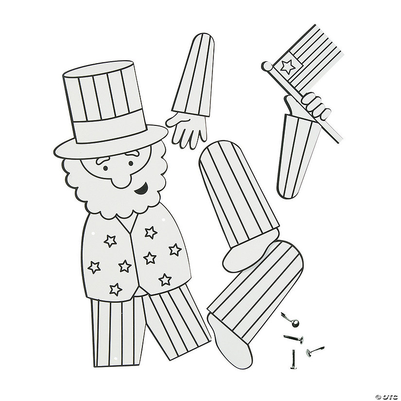 Color Your Own Jointed Uncle Sam Craft Kit