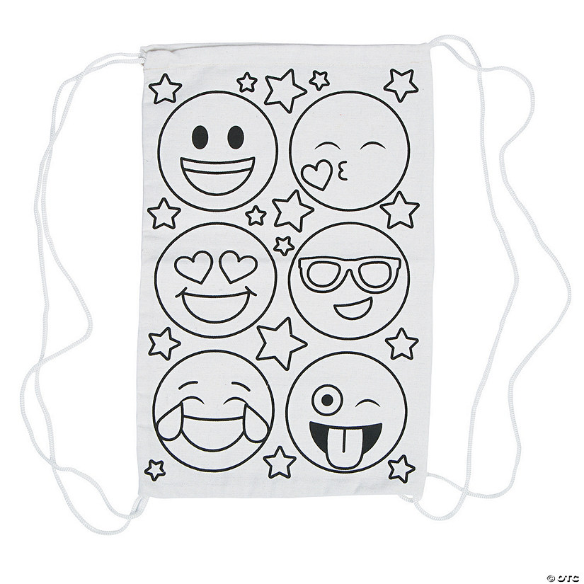 Color Your Own Medium Emoji Canvas Drawstring Bags