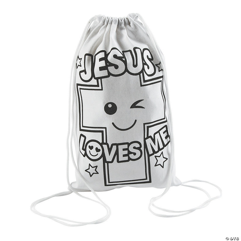 Color Your Own Medium Jesus Loves Me Drawstring Bags