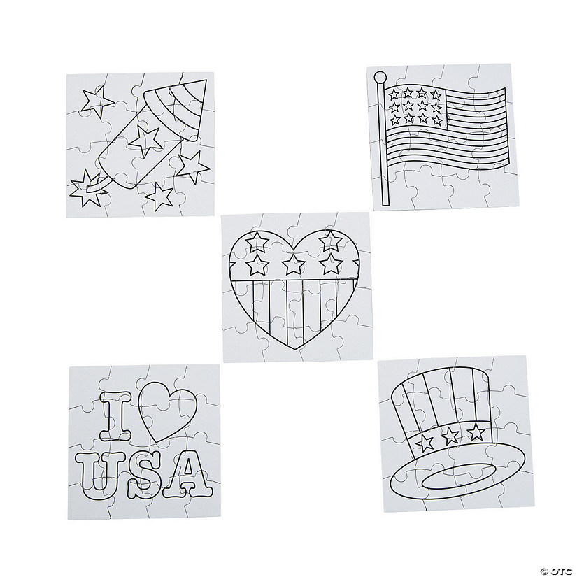 Color Your Own Patriotic Mini Puzzles